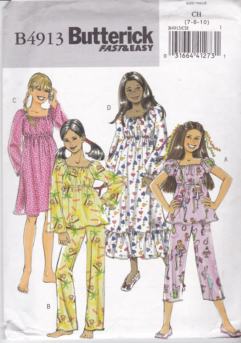 641d9676c01 Meisjes pyjama patroon Nachthemd Top broek verhoogd Waistling Sleeve  variaties, lange en korte broek maat 7 8 10 jurk patroon gratis verzending