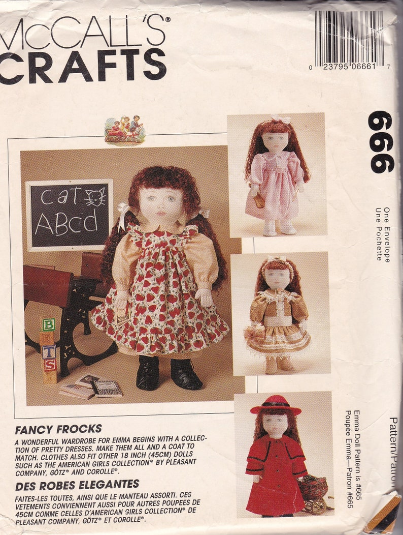 d8665af188a4 18 Inch Doll Clothes Pattern Vintage McCall Crafts Complete | Etsy