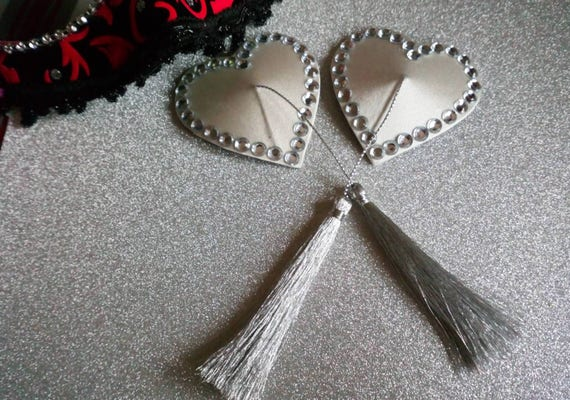 Embellished Heart Silver Pasties
