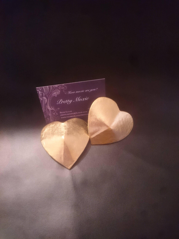 Gold Heart Nipple Pasties Add Tassels Burlesque Stripper -6758