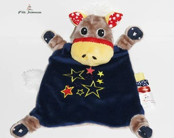 Cuddly plush horse.