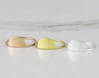 Half Round initial ring • personalized ring • stacking ring • letter ring • customized initial ring • Sterling silver ring ( HCR OD 12X )