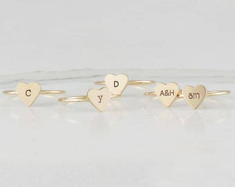Dainty Gold Fill Heart Initial Ring, Personalized Ring, Stacking Ring, Customized Initial Ring, 14 k Gold Filled Ring ( HCR OD 312 HT )