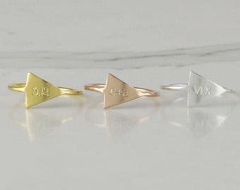 Arrow Initial Ring • Personalized ring • stacking ring • letter ring • customized initial ring • Sterling silver ring (HCR OD TRY)