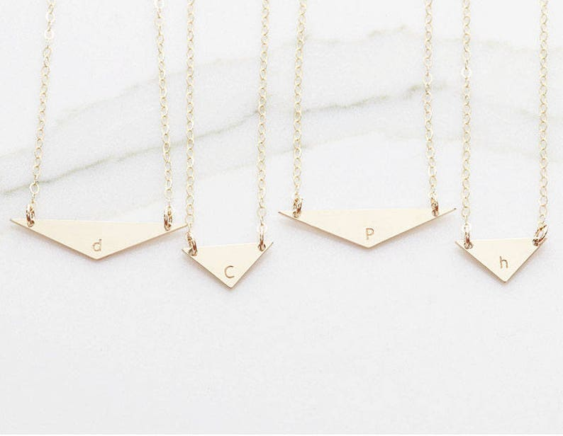 Bridesmaid Gift Name Plate Necklace Gift for her Initial Large Triangle Necklace Wide Personalized Initial Necklace Tri OD 13.9