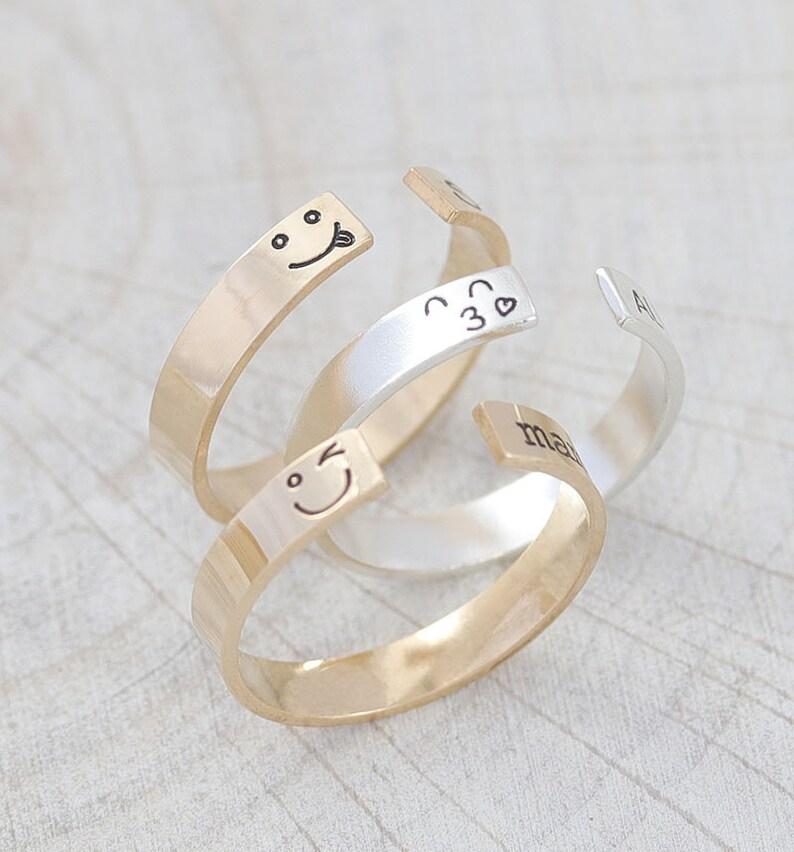 Emoji Ring / Smile Face Ring / Emoticon Ring / Adjustable Ring image 0