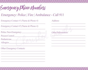 emergency contact etsy