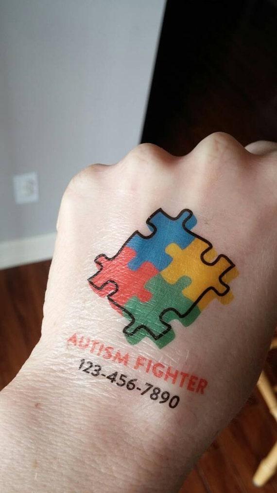 Autism Tattoo Medical Tattoo Phone Number Tattoo Emergency Etsy