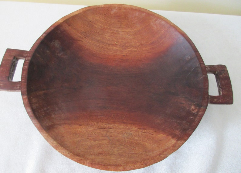 Country Cottage Beachy Chef Kitchen Bowl. Rustic Vtg Primitive Handcarved Wood Dough Bowl Cabin