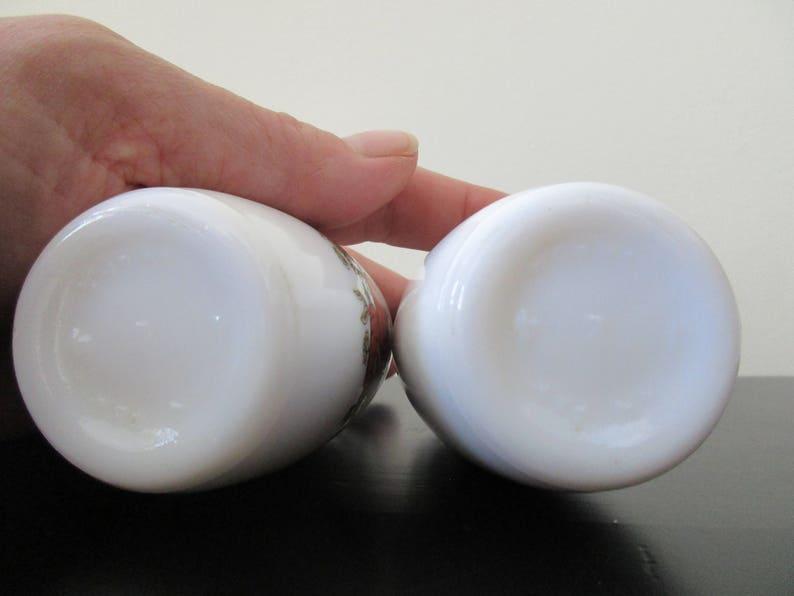 Vintage Milk Glass Salt and Pepper Shakers Made by Van Pak Harvest vegetable design.