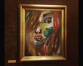 painted face home decor. Impressionist Art, Art Print, home decor, red hair painting. girl painting home decor, face painting,