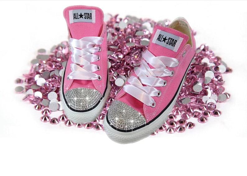 cf36fa0ee83b Converse Classic Low Top Swarovski Bling Chucks Pink