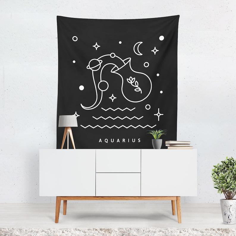 Zodiac Tapestry  Wall Hanging  Aquarius Zodiac  Celestial image 0