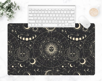 Celestial Extra Large Desk Mat, Keyboard Mat, Astrology Workspace, Zodiac Desk, Tech Accessories, Large Gaming Mouse Pad, Multi-Size