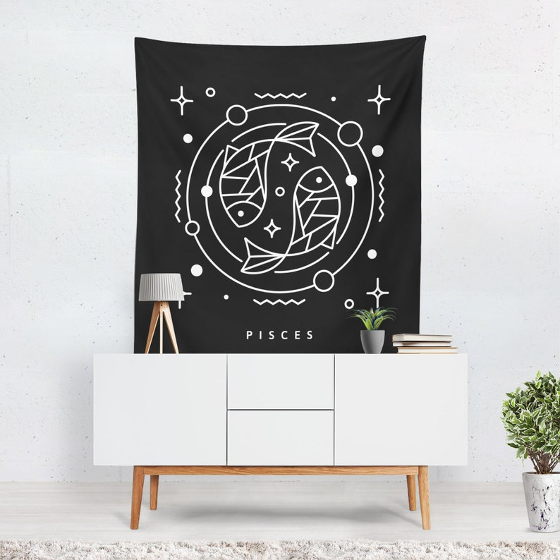 Zodiac Tapestry  Wall Hanging  Pisces Zodiac  Celestial image 0