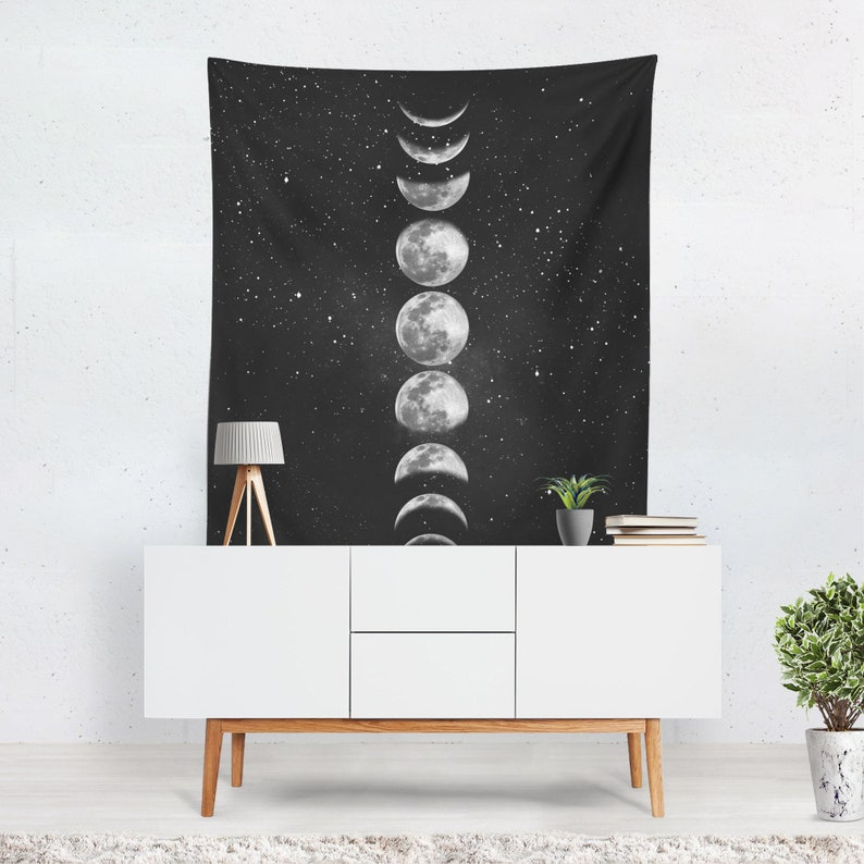 Moon Phases Tapestry  Wall Hanging  Moon Tapestry  Space image 0