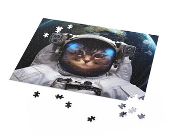 Cat Astronaut Puzzle | Space Jigsaw Puzzles For Adults | Astronomy Gifts | 500 Piece Puzzle | 252 Piece Puzzle | 120 Piece Puzzle