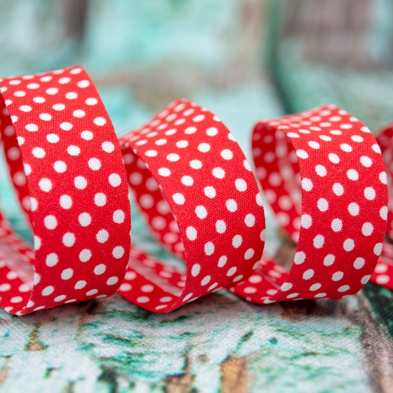 Bias binding red with with dots, 18mm, 1,09 yards per piece