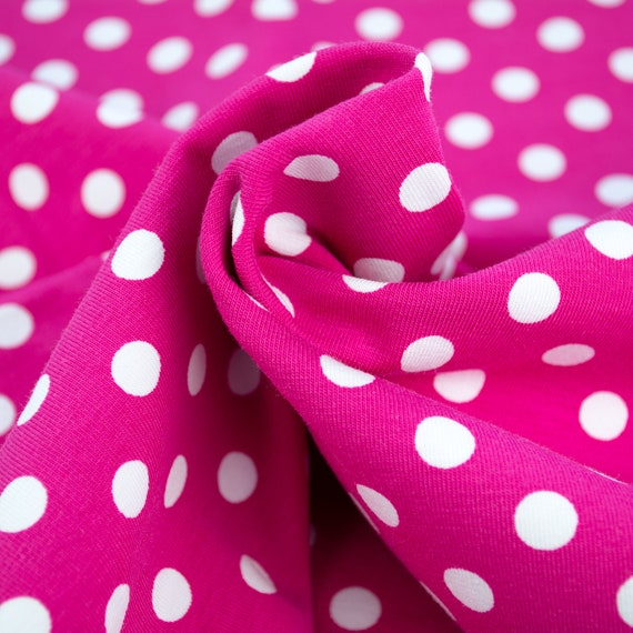 Knitted fabric jersey pink with polka dots white, 0,27 yards / 0,25m per piece