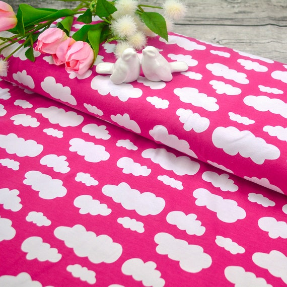 Fabric jersey clouds pink heaven, 0,25m per piece / 0,27 yards