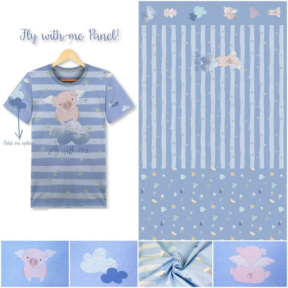 Jersey panel FLY WITH ME little pig 150x65cm