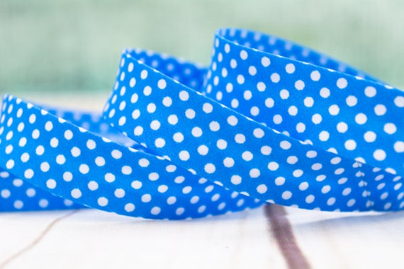 Bias binding blue with dots, 20mm, 1,09 yards per piece