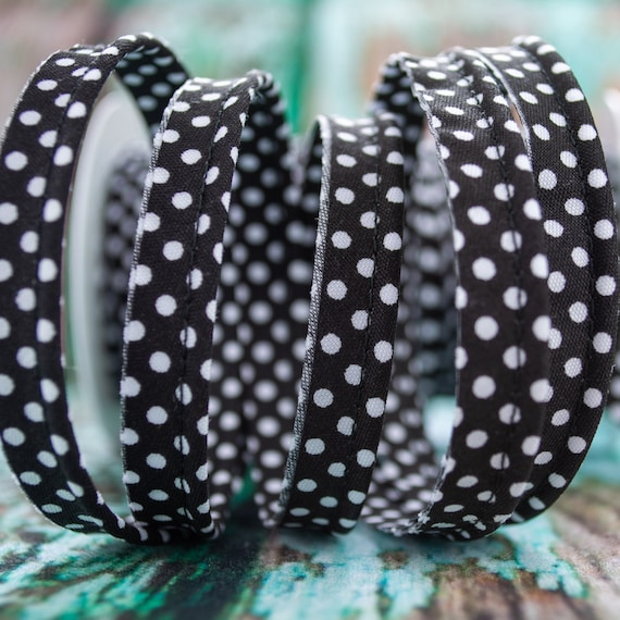 Piping stripe black with white dots, 1,09 yards / 1m  per piece