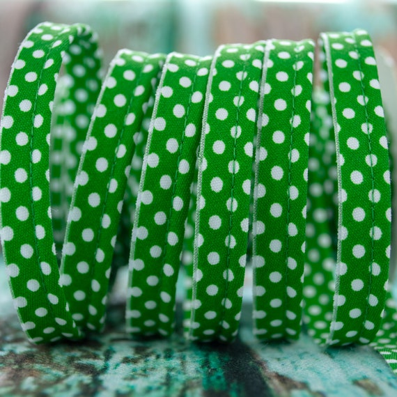 Piping stripe green with dots , 1,09 yards / 1m  per piece