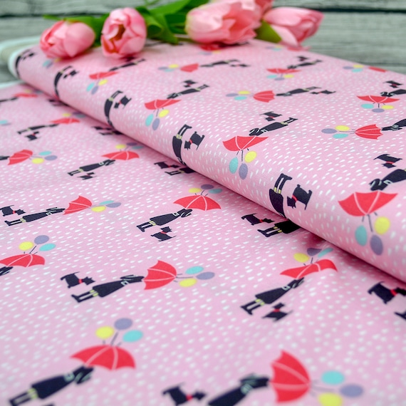 """100% cotton """"april showers"""" rose girl in the rain with umbrella and dog, 25cm / 0,27 yards per piece"""