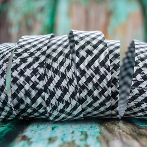 Bias tape vichy checked black white, 18mm width, 1,09 yards = 1 meter per piece