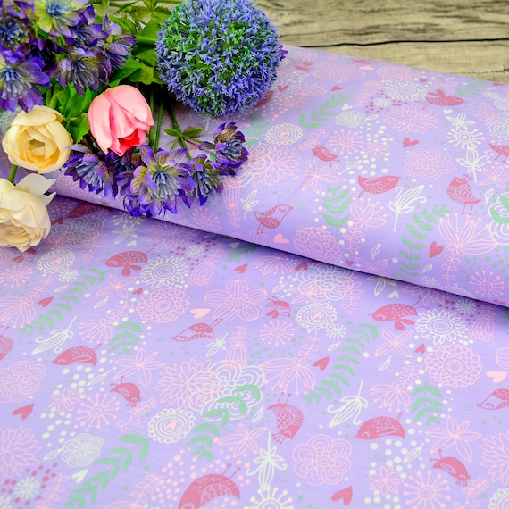 Jersey PASTEL SPRING BIRDS lilac, 0,25m / 0,27 yards per piece