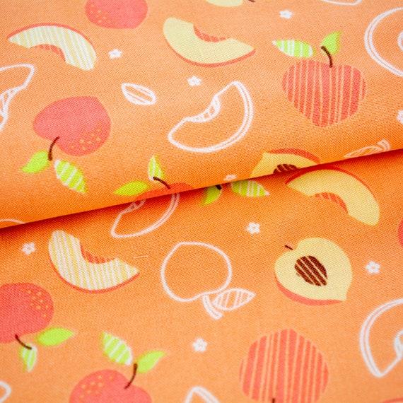 100% cotton peach apricot fruits, 25cm / 0,27 yards per piece