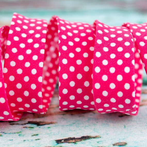 Bias binding pink with dots, 18mm, 1,09 yards per piece