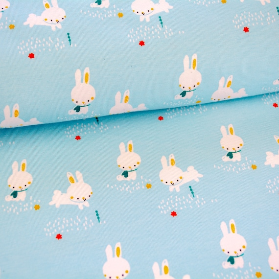 Jersey BINKY BUNNY light blue, 25cm / 0,27 yards per piece