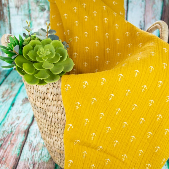 Muslin ANCHOR MUSTARD YELLOW double gauze, 25cm/0,27 yards per piece