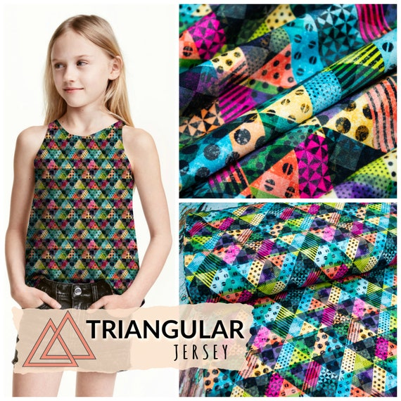 Jersey TRIANGULAR triangle colorful, 25cm per piece