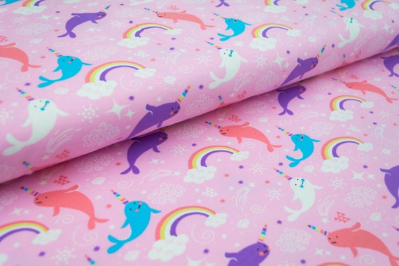 Jersey RAINBOW WHALES rose, 0,27 yards per piece