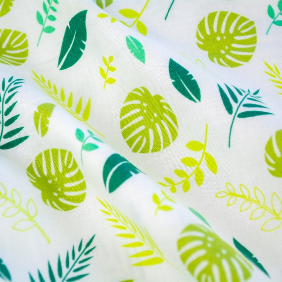 100% cotton leaves green white nature plants, 25cm / 0,27 yards per piece