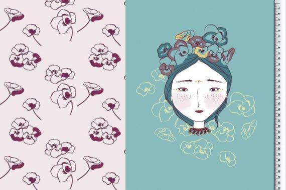 Jersey panel-print fabric BELLA Geisha girl Japan flowers, 64,5cm per piece