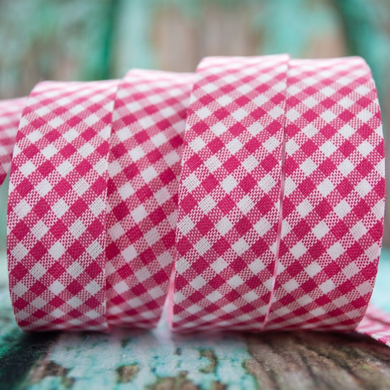 Bias binding vichy checked white pink, 18mm, 1,09 yards = 1 meter per piece