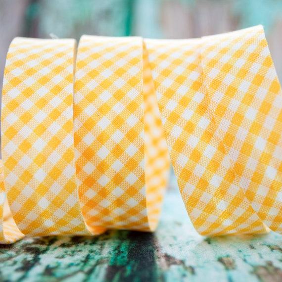 Bias binding vichy checked yellow white, 18mm width, 1,09 yards = 1 meter per piece