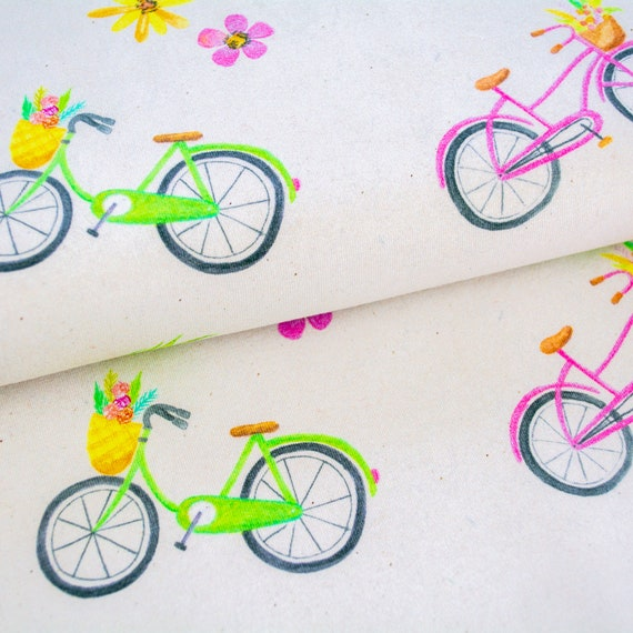 Organic Cotton Jersey AQUARELL BLOOMS bikes