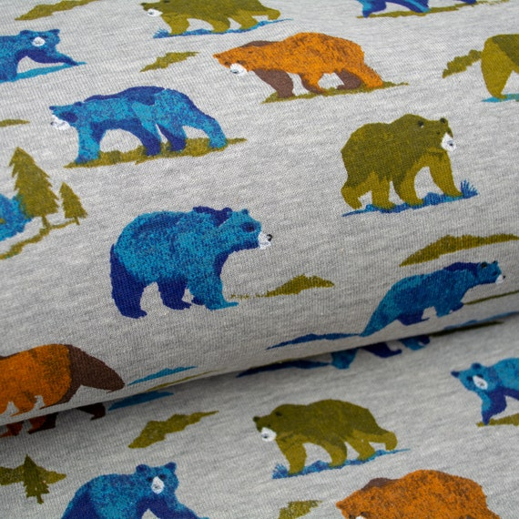 Sweat GRIZZLY BEAR BRUSHED gray grey bears fabric wilderness nature