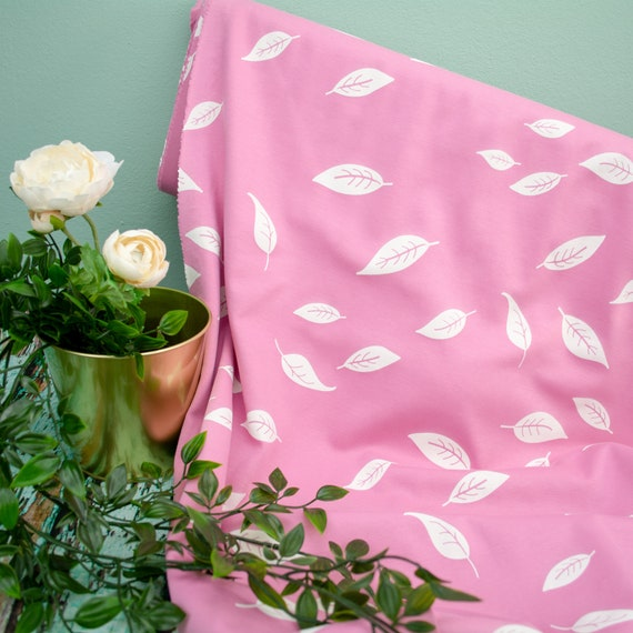 Jersey interlock leaves rose white (25cm / 0,27 yards per piece)