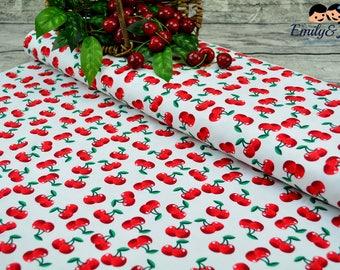 Cotton CHERRY LOVE white red, 0,27 yards per piece