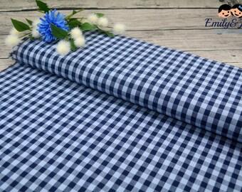 100% cotton vichy-karos light blue dark blue
