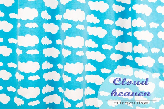 Jersey clouds turquoise, 0,27 yards per piece