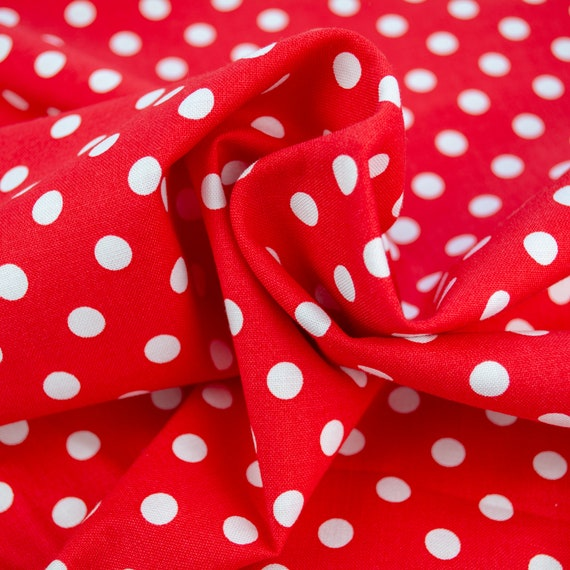 100% cotton red with white polka dots, 25cm / 0,27 yards per piece