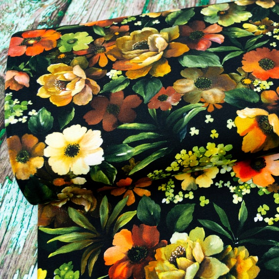 Jersey FLOWER ART floral digital print women fabrics