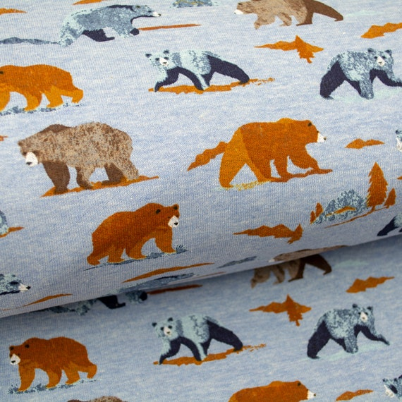 Sweat GRIZZLY BEAR BRUSHED blue bears fabric wilderness nature